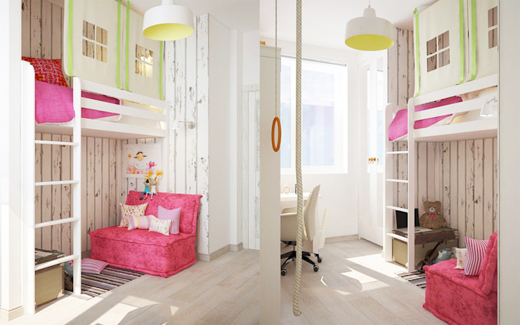 Minimalistyczny pokój dziecięcy od Мария Суслова, дизайн интерьеров Самара Minimalistyczny