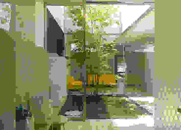 ネブライザーコーナーから中庭1を見る モダンデザインの 多目的室 の 古津真一 翔設計工房一級建築士事務所 モダン