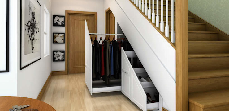 Innovative storage solutions.:  Corridor & hallway by Chase Furniture,