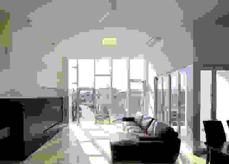 水盤の家 モダンデザインの リビング の 株式会社 庄司圭介アトリエ一級建築士事務所 モダン