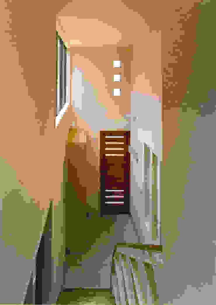 2Fから吹抜の玄関ホールを見る 地中海スタイル 壁&床 の 豊田空間デザイン室 一級建築士事務所 地中海