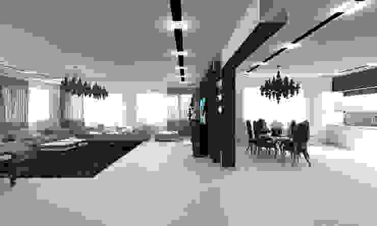 Черно-белая сюита Гостиная в стиле минимализм от Гурьянова Наталья Минимализм