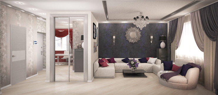 Квартира-студия для молодой девушки Гостиная в стиле модерн от Гурьянова Наталья Модерн