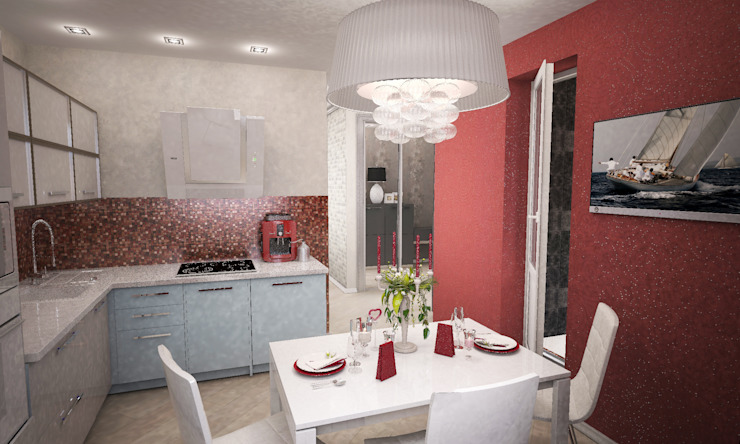 Квартира-студия для молодой девушки Столовая комната в стиле модерн от Гурьянова Наталья Модерн