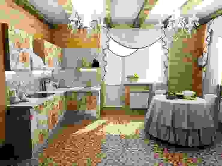 Кухня в русском стиле в деревянном коттедже Столовая комната в эклектичном стиле от Гурьянова Наталья Эклектичный