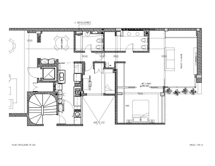 planos obra finalizada de Hargain Oneto Arquitectas