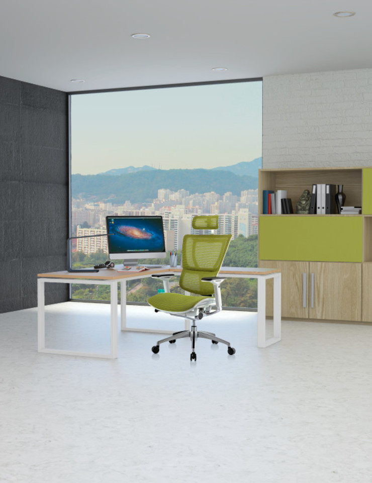 RM-9014/RM-9034 Sillón staff estructura blanca malla verde de Grupo Requiez, SA de CV Moderno