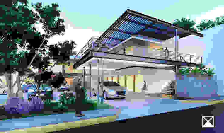 ANGOLO-grado arquitectónico Balcone, Veranda & Terrazza in stile industriale Grigio