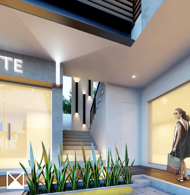 Modern Corridor, Hallway and Staircase by ANGOLO-grado arquitectónico Modern Ceramic