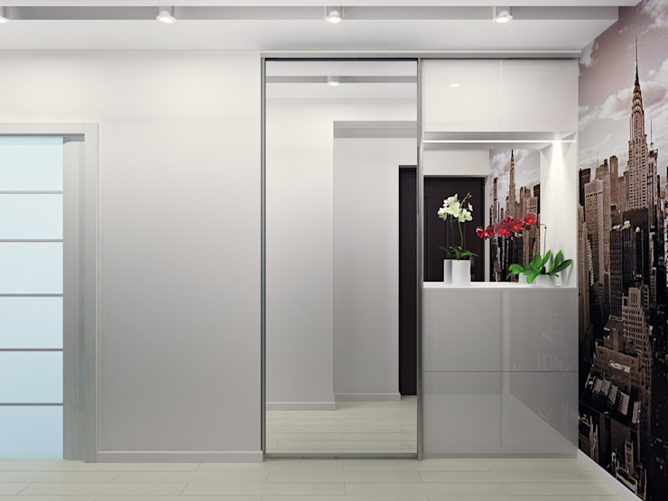 Оксана Мухина Minimalist corridor, hallway & stairs
