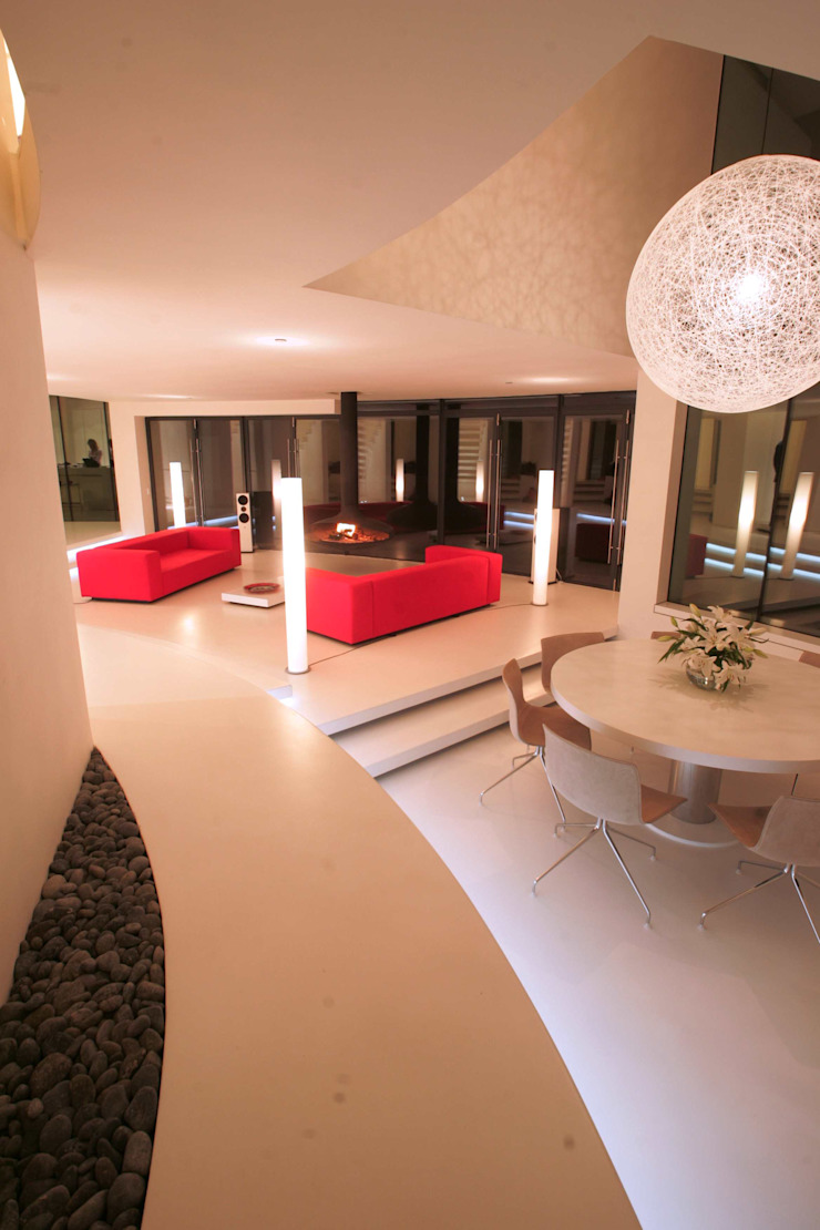 Lymm Water Tower Modern Living Room by Kate and Sam Lighting Designers Modern