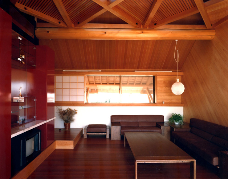 つくばの家 オリジナルデザインの リビング の 有限会社加々美明建築設計室 オリジナル 木 木目調