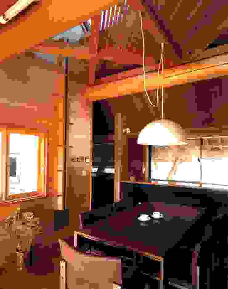 つくばの家 オリジナルデザインの ダイニング の 有限会社加々美明建築設計室 オリジナル 木 木目調