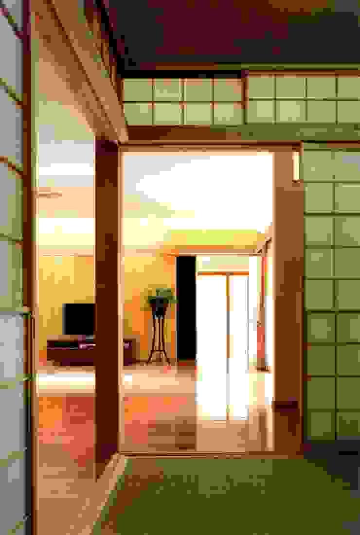 畳室からみるダイニングリビング オリジナルデザインの リビング の 有限会社加々美明建築設計室 オリジナル 木 木目調