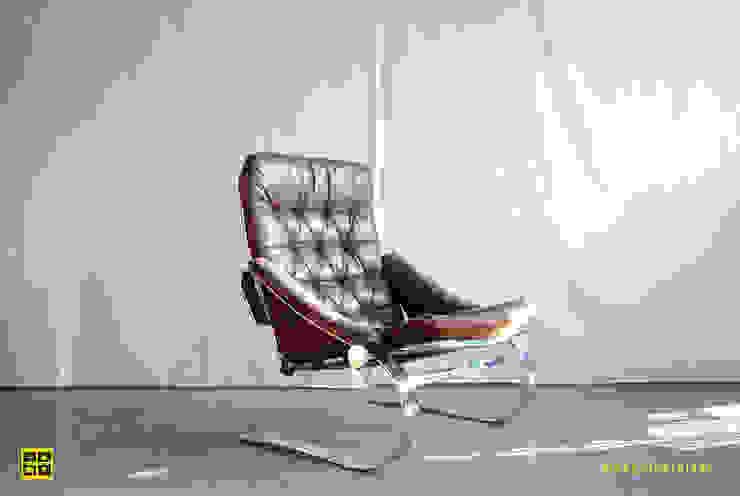 Vintage design fauteuils / armchairs van De gele etalage Scandinavisch Leer Grijs