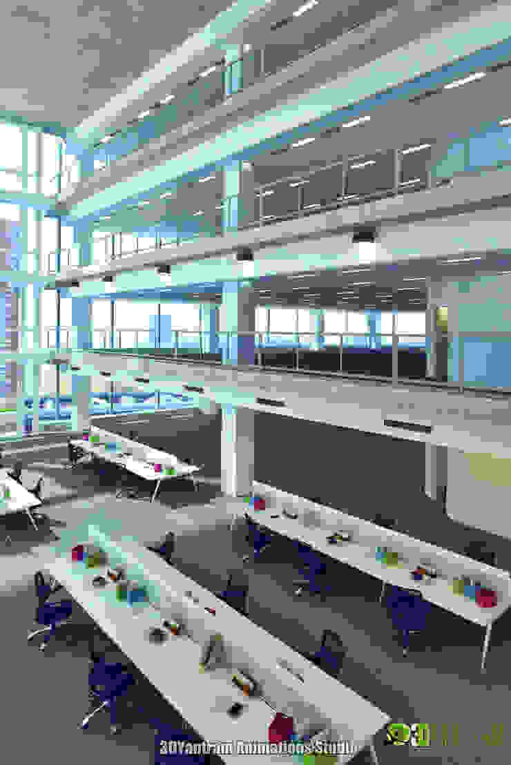 Commercial 3D Interior Rendering Office Workstation: modern  by Yantram Architectural Design Studio, Modern