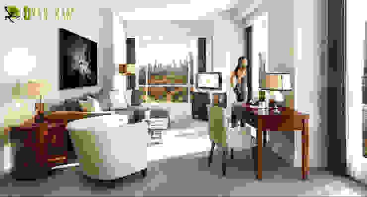 Day View Residential 3D Interior Rendering Livingroom Modern living room by Yantram Architectural Design Studio Modern