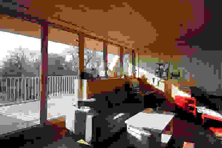 Symbios Architektur 现代客厅設計點子、靈感 & 圖片 木頭