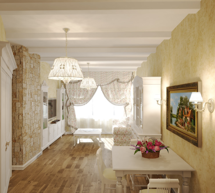 Квартира в городе Королев Гостиная в стиле кантри от Симуков Святослав частный дизайнер интерьера Кантри