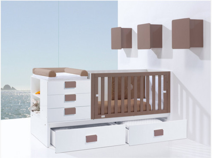 Clip Convertible Cot Bed Brown (K506) por Casa bebé Moderno