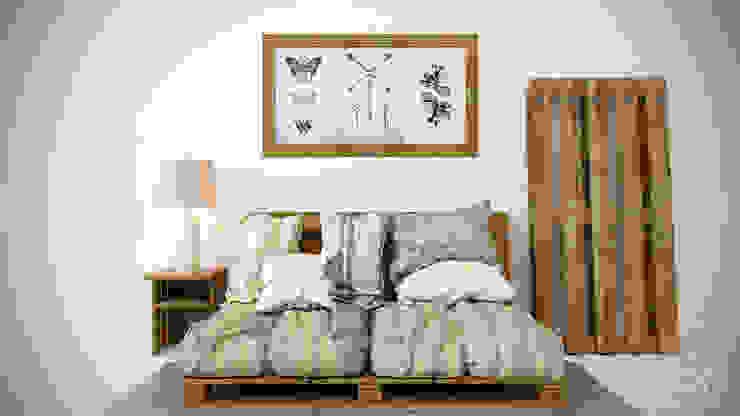 студия визуализации и дизайна интерьера '3dm2' ห้องนอนเตียงนอนและหัวเตียง