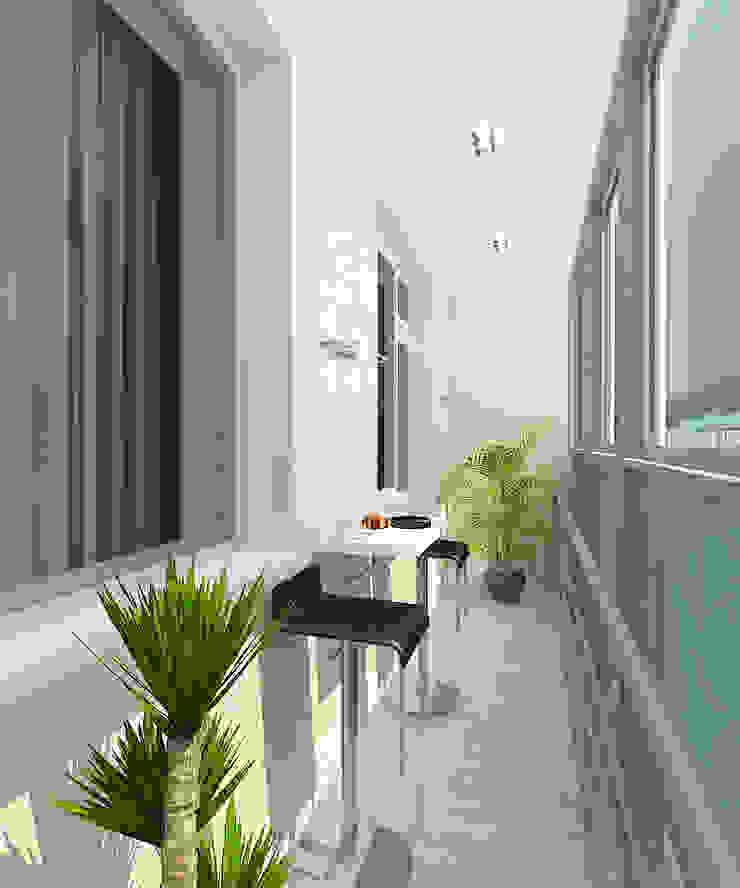 Квартира в элитном жилом комплексе <q>Парус</q> Балкон и терраса в стиле минимализм от Design Rules Минимализм