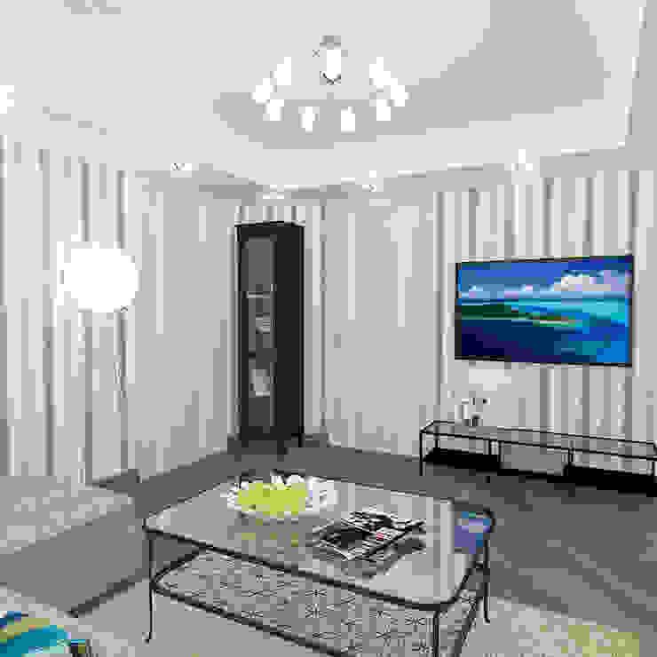 Двухкомнатная квартира в жилом комплексе <q>Онежский дворик</q> Гостиные в эклектичном стиле от Design Rules Эклектичный