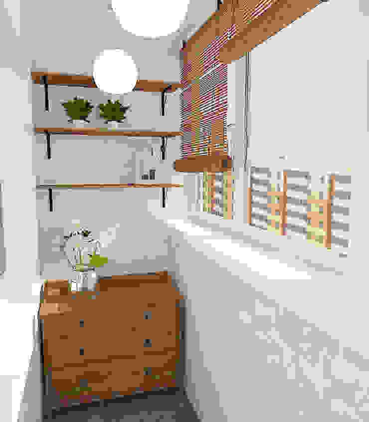 Двухкомнатная квартира в жилом комплексе <q>Онежский дворик</q> Балконы и веранды в эклектичном стиле от Design Rules Эклектичный