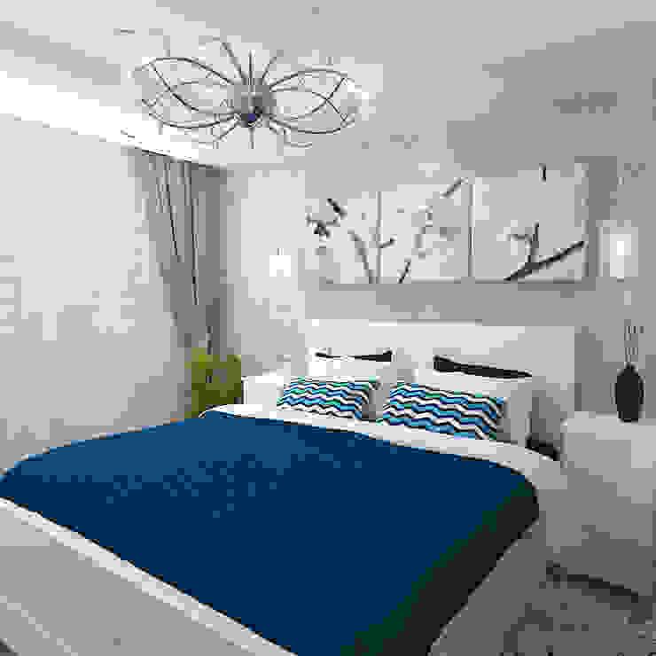 Двухкомнатная квартира в жилом комплексе <q>Онежский дворик</q> Спальня в эклектичном стиле от Design Rules Эклектичный
