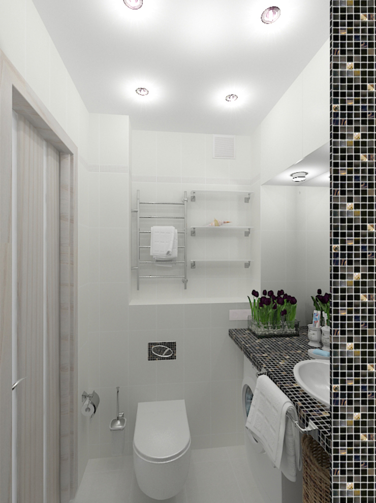 Двухкомнатная квартира в жилом комплексе <q>Онежский дворик</q> Ванная комната в эклектичном стиле от Design Rules Эклектичный