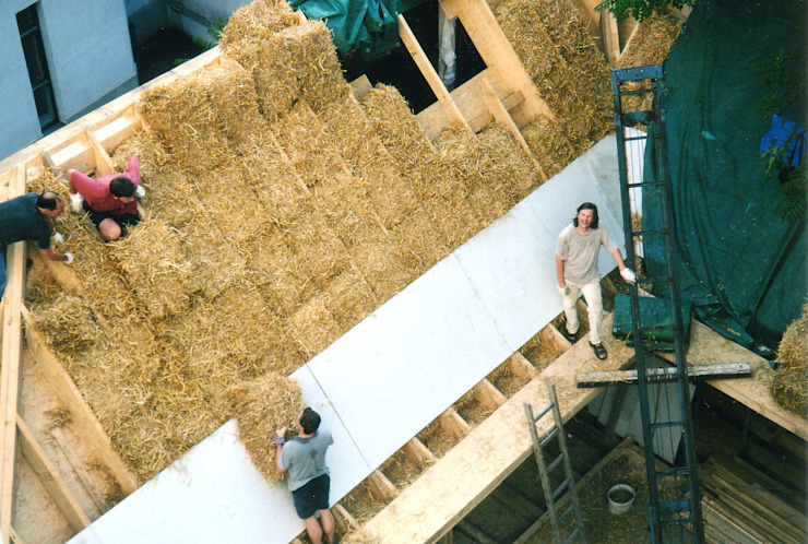 strawbale insulation allmermacke Modern houses Sisal/Straw