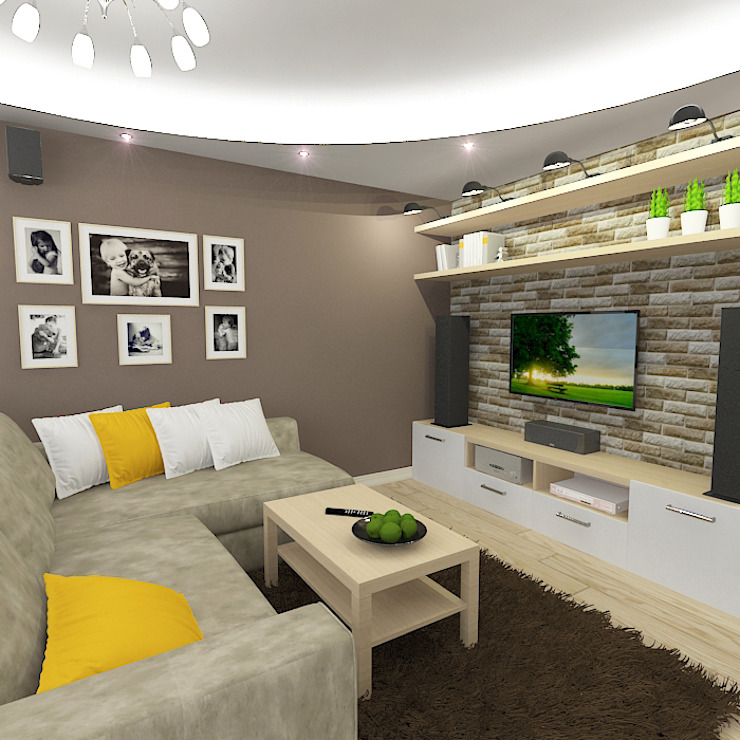 Трехкомнатная квартира Гостиные в эклектичном стиле от Design Rules Эклектичный