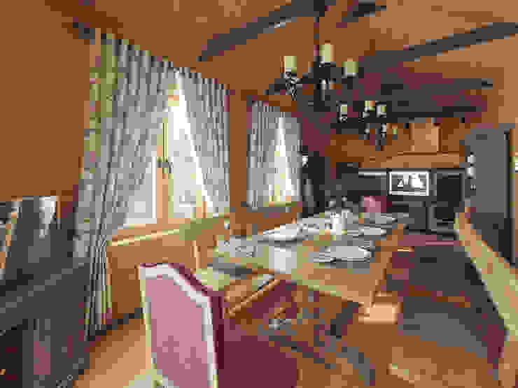 Охотничий домик Гостиная в стиле кантри от студия дизайна mnDesire Кантри Дерево Эффект древесины