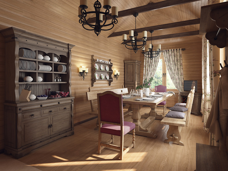 Country style dining room by студия дизайна mnDesire Country Engineered Wood Transparent
