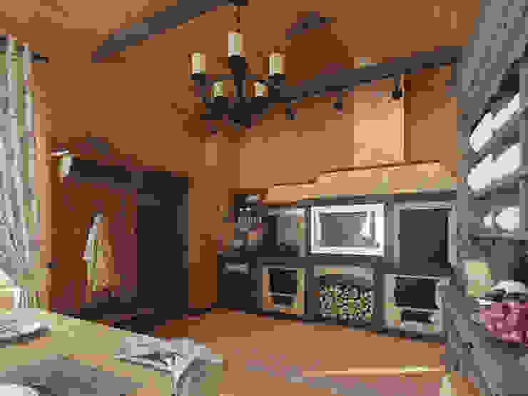 Охотничий домик Кухня в стиле кантри от студия дизайна mnDesire Кантри Камень