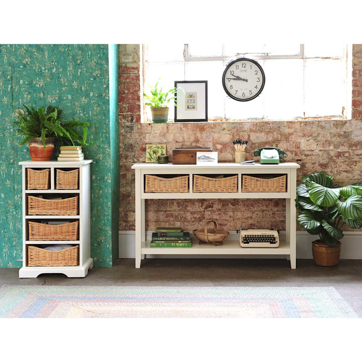 Farmhouse Ivory 5 Drawer Chest and Console Table by The Cotswold Company Country Wood Wood effect