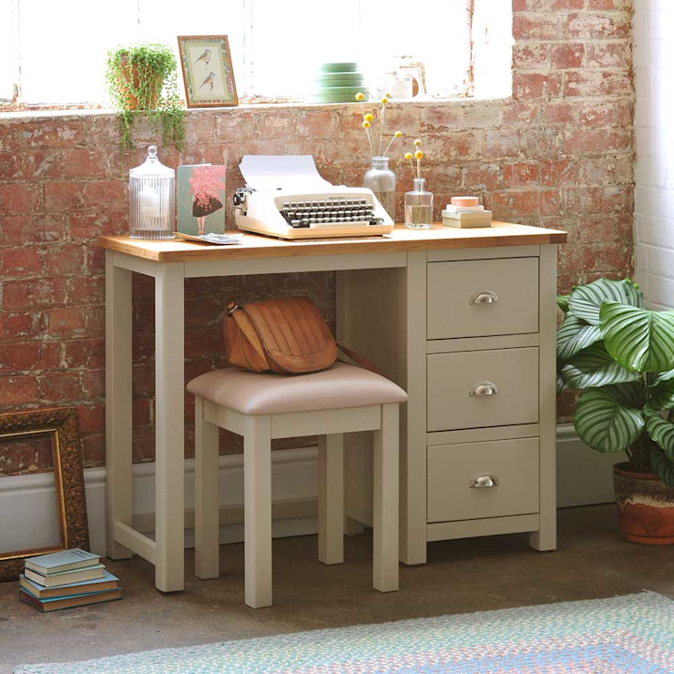 Lundy Stone Grey Single Pedestal Dressing Table Country style bedroom by The Cotswold Company Country Wood Wood effect