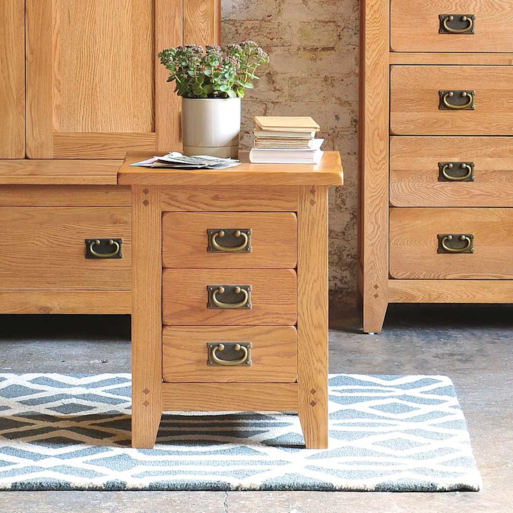 Oakland 3 Drawer Bedside Cabinet Country style bedroom by The Cotswold Company Country Wood Wood effect
