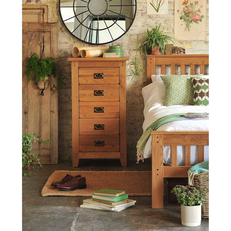 Oakland 5 Drawer Tall Chest Country style bedroom by The Cotswold Company Country Wood Wood effect