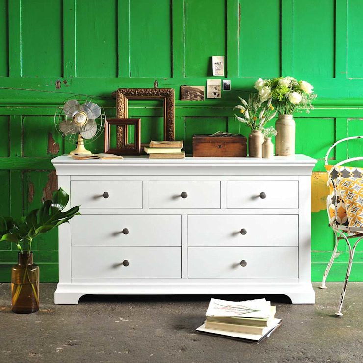 Chantilly White 3 over 4 Drawer Chest Country style bedroom by The Cotswold Company Country Wood Wood effect