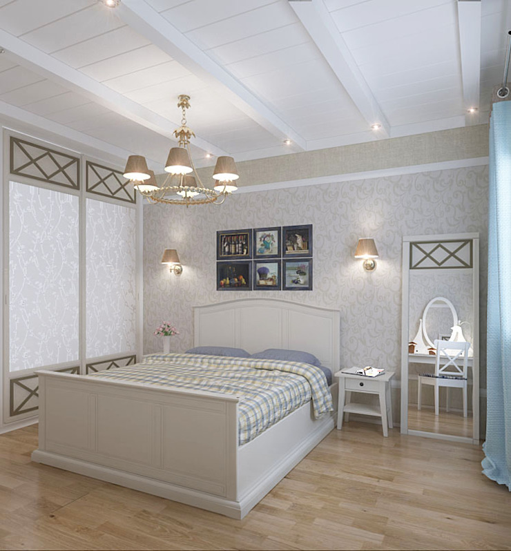 Коттедж в деревне Молчаны Спальня в стиле кантри от Design Rules Кантри