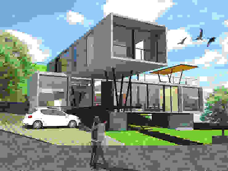 Fachada principal y acceso Casas modernas de SERVER arquitectura y construcción Moderno