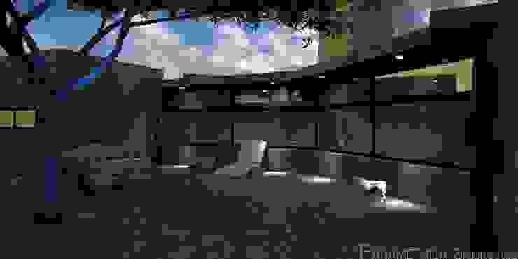 Render de la terraza. Balcones y terrazas rurales de Paramétrica Arquitectos Rural
