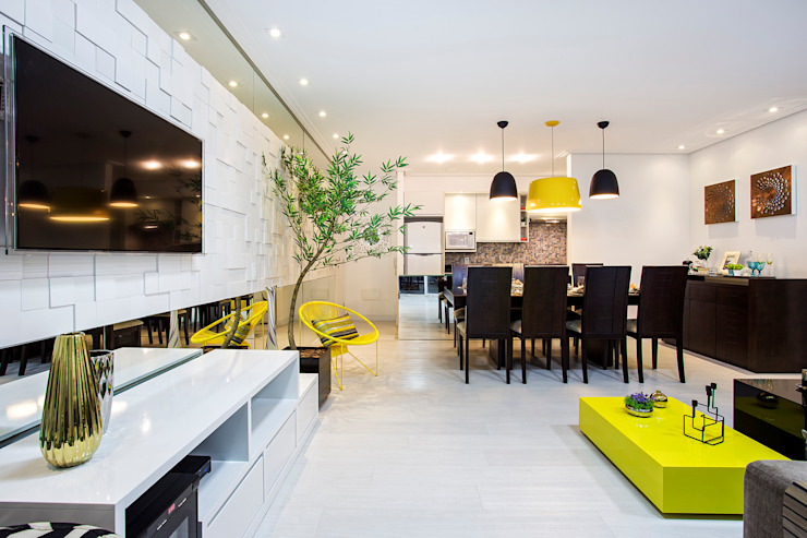 Amanda Pinheiro Design de interiores Modern dining room Yellow