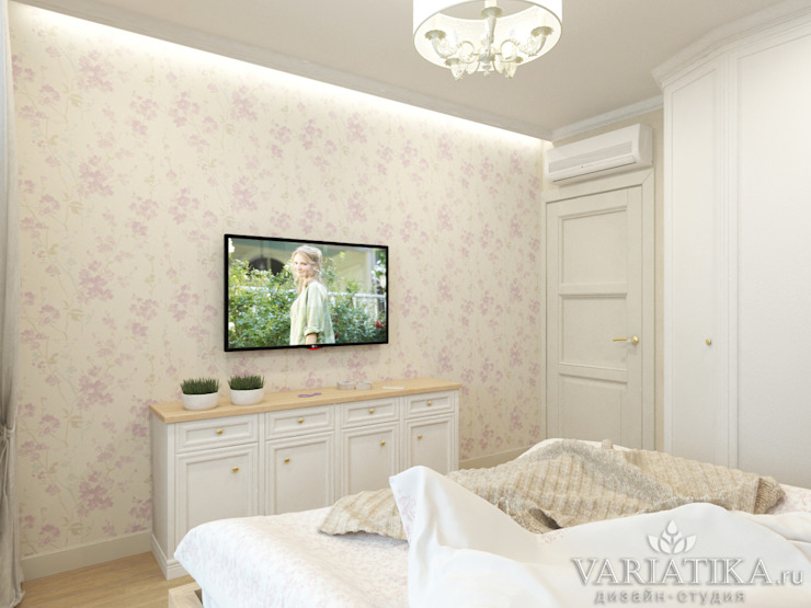 Дизайн интерьера квартиры площадью в г.Мытищи, 100 кв.м. Спальня в классическом стиле от variatika Классический