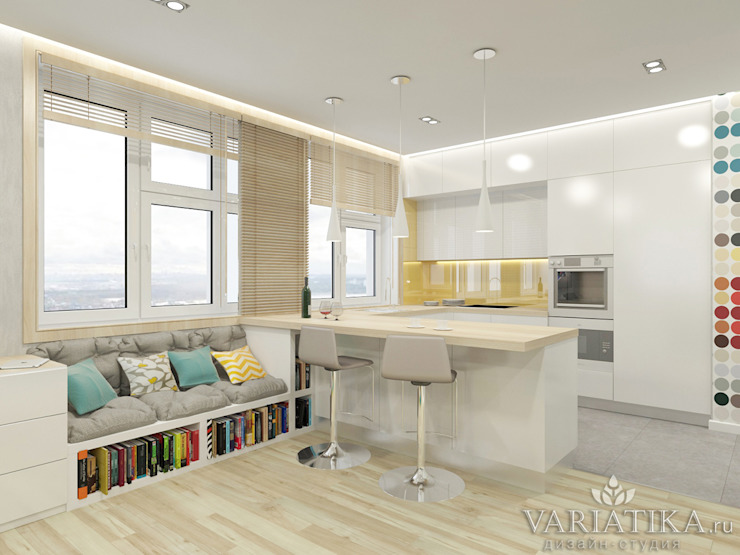 Дизайн квартиры в ЖК Арт, 44 кв.м. Кухня в стиле минимализм от variatika Минимализм