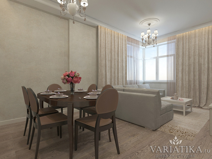 ЖК Вешняки – 100 м² Гостиные в эклектичном стиле от variatika Эклектичный