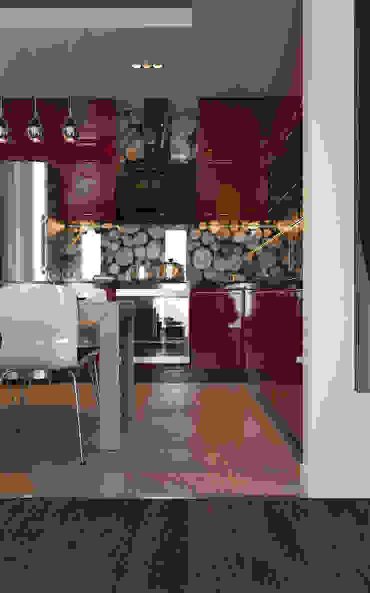 Red Kitchen Кухни в эклектичном стиле от Stanislav Booth Эклектичный МДФ