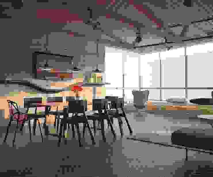 Aerobus: styl , w kategorii Jadalnia zaprojektowany przez Shtantke Interior Design,Industrialny