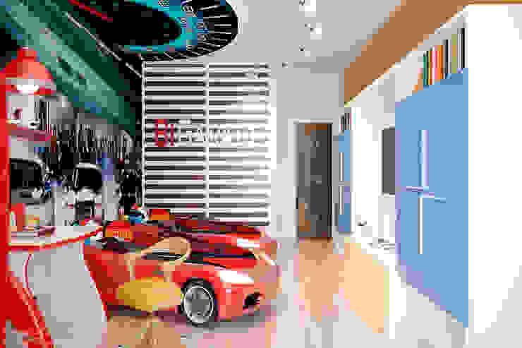 """Дизайн детской мальчиков-близнецов в авто-стиле в ЖК """"Новый город"""" Детская комната в стиле модерн от Студия интерьерного дизайна happy.design Модерн"""